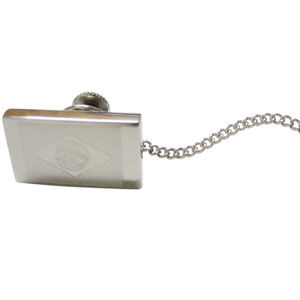 Silver Toned Etched Brazil Flag Pendant Tie Tack